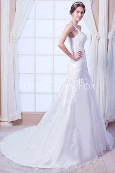 Flowing Single Straps A-line Full Length White Organza Wedding Dresses Chapel Train  $199.00