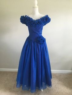 Vintage 80s Mike Benet Formals Blue Sparkle by TheFinePrintVintage