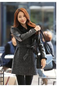 Best Cheap Promotional Winter Woolen Jacket Women New 2015 Korean Version of the Long Wool Coat Slim Long-sleeved Woolen Jacket Stitching Leather Online with $35.44/Piece | DHgate