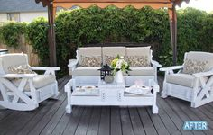21 best Retro couches chairs images on Pinterest   Armchairs  Chairs     DIY white wooden patio furniture sets on a budget