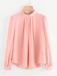 Shop Pleated Detail Button Keyhole Back Chiffon Blouse online. SheIn offers Pleated Detail Button Keyhole Back Chiffon Blouse & more to fit your fashionable needs. Fall Outfits For Work, Casual Fall Outfits, Hijab Fashion, Fashion Outfits, Women's Fashion, Hijab Stile, Casual Hijab Outfit, Blouse Dress, Collar Blouse