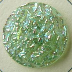 Aurora luster domed textured transparent green glass button