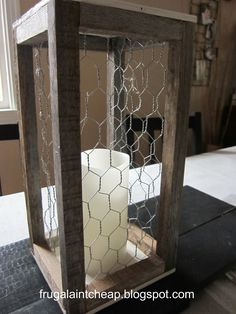 I really like lanterns, big and small alike, so I got thinking and built one myself. I used 2 tomatoes' poles that have been hanging o. Wood Projects For Beginners, Diy Wood Projects, Wood Crafts, Woodworking Projects, Fine Woodworking, Rustic Decor, Farmhouse Decor, Rustic Wood, Chicken Wire Crafts
