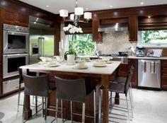 Modern Kitchen - Dark Wood & Stainless Steel appliances