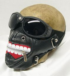 2 pc 'BIG SMILE' Zipper Smiley Dust Riding Mask with Matching Bombers Goggles - A Burning Man Must Have by jadedminx on Etsy