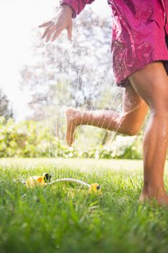 Be a kid again and run through the water sprinkler to cool off. You can also keep a spray bottle handy for a cool-off spritzer.