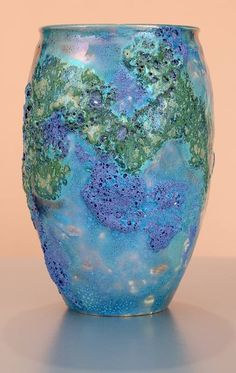 """Vessel 1545 (6"""") by Paul J. Katrich. """"Superb volcanic glazed vessel in aerial and violet blue, forest green, and every nuance in-between. Continents seen from a great height, known only to birds,  stars and satellites."""""""
