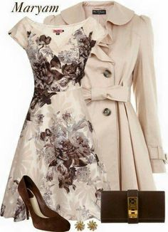 Ivory&Touch of brown - Herren- und Damenmode - Kleidung Classy Outfits, Pretty Outfits, Beautiful Outfits, Gorgeous Dress, Chic Outfits, Floral Outfits, Fall Outfits, Mode Outfits, Fashion Outfits