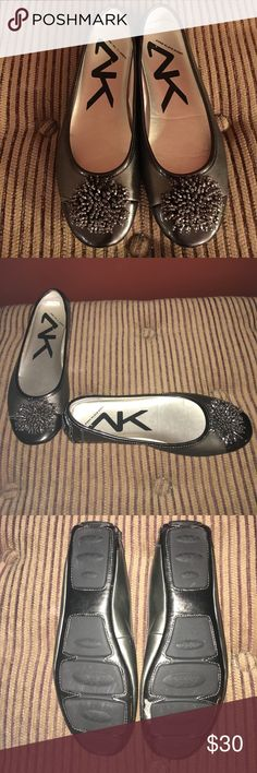 Anne Klein Flats-Gunmetal-Beaded Front Pom Pom-7.5 These beautiful Anne Klein flats are very versatile and can be worn with any style outfit. They are a two tone gunmetal with the toe being darker. On the front is an elegant beaded Pom- Pom. They are a size 7.5M and as shown in the photo worn infrequently. Anne Klein Shoes Flats & Loafers