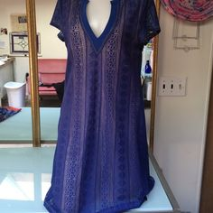 Sanctuary shift dress lined cobalt blue Really versatile shift dress from sanctuary. Runs a bit small length to knees. Pull over. Great cobalt blue lace lined with nude. Comfortable. Only worn twice. Sanctuary Dresses