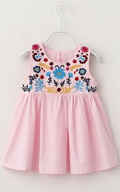 Sweet Round Neck Sleeveless Embroidered Mini Dress For Girl Frocks For Girls, Little Girl Dresses, Girls Dresses, Toddler Dress, Toddler Outfits, Kids Outfits, Fashion Kids, Frock Design, Baby Dress Patterns