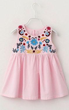 Sweet Girl's Round Neck Sleeveless Embroidered Mini Dress