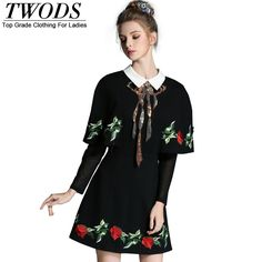 L- 5XL  Autumn  Designer  Cloak Sleeve Collared Slim Fit Flare Short Mini Dress Vestidos Elegant – artifashion.net
