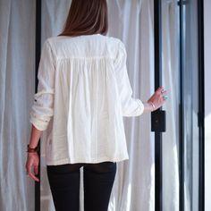 Blouse femme Lait gaze double de coton - Poudre Organic