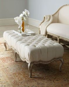 My Juliette Wood Frame Bench presents a strikingly French aesthetic, featuring button tufting, nailhead trim and cabriole legs. http://www.maxsparrow.com.au/collections/ottoman/products/juliette-wood-frame-bench