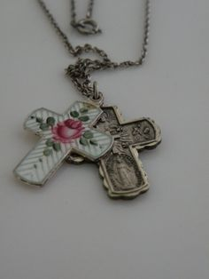 Antique French Guilloche Enamel Cross with Pink Rose Religious Medal Necklace sterling $139