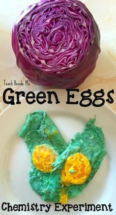 Green Eggs Chemistry Experiment- No Food Dye Needed great experiment for Dr. Seuss' Birthday or Easter time!