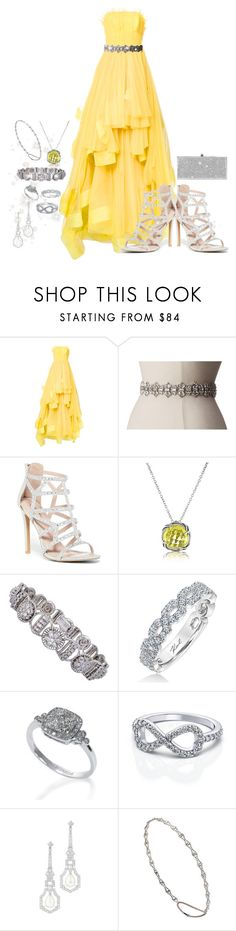 """Gown w/Crystal Belt and Headband"" by snowflakeunique ❤ liked on Polyvore featuring Isabel Sanchis, Kate Spade, Top Moda, Bling Jewelry, Jabel, Karl Lagerfeld, Effy Jewelry, Jennifer Behr and Jimmy Choo"