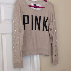 VS PInk top Long sleeve tan PINK top. Shoulders have rhinestone detail all in tact. Victoria's Secret Sweaters