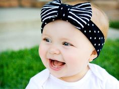 Black and White Striped and Polka Dot Head Wrap: Black and White Polka Dot Knit Head Wrap with Striped Bow on Etsy, $12.00
