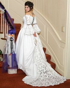 wedding dress idea - do like the off the shoulder.and the sleeves. Front would need to be a bit more interesting though and wouldn't want a long train. Maybe the detail in the back could be more of an overall overlay. Halloween Wedding Dresses, Black Wedding Dresses, Cheap Wedding Dress, Wedding Dress Styles, Wedding Gowns, Halloween Weddings, Wedding Pics, Fall Wedding, Wedding Ceremony