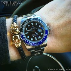 Fan Pic Of The Day !   While behind the wheel of his Audi @Gerschouten is ready to go with his Rolex GMT Master Watch nicely paired with our premium Black Nappa Leather & Gold Twin Skull Bracelet. Great combo  Available now at Northskull.com   For a chance to get featured post a cool photo of your Northskull jewelry with the tag #Northskullfanpic
