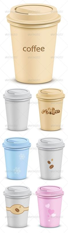 Realistic Graphic DOWNLOAD (.ai, .psd) :: http://sourcecodes.pro/pinterest-itmid-1000480528i.html ... 7 Plastic Coffee Cups ...  beverage, breakfast, brown, cafe, caffeine, cappuccino, coffee, container, cover, cup, decaf, drink, espresso, hot, java, latte, lid, liquid, mocha, paper, plastic, portable, recycle, takeout, tea, vector  ... Realistic Photo Graphic Print Obejct Business Web Elements Illustration Design Templates ... DOWNLOAD…