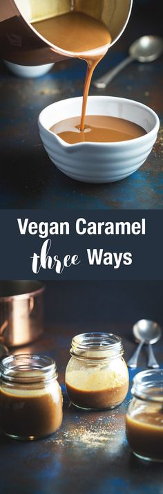 Vegan caramel three ways? Yes please. Three easy and distinct vegan caramel recipes for every purpose. Fruit caramel, date caramel and coconut milk caramel.