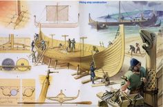 Viking ship construction. Illustration by Angus McBride.