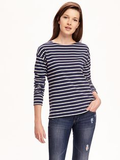 ON relaxed heavy-knit boat-neck tee