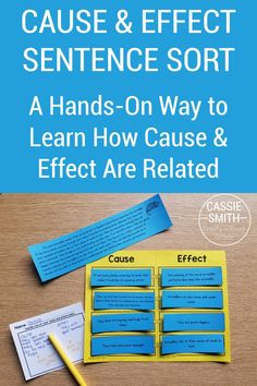 This cause and effect sentence sort is a fun, hands-on activity for teaching cause and effect. Students will read a paragraph and then determine the various causes and effects found within the text. Students will read mixed up sentences and have to determine which pair together, and which are the causes and effects. Try this activity for free! Sorting Activities, Hands On Activities, Guided Math, Guided Reading, Third Grade Reading, Cause And Effect, Paragraph, Grade 3, 5th Grades