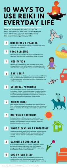 This infographic can easily show how to implement reiki into your every day life. chances are you can use reiki energy healing techniques in more ways than you realized, and these are some great ideas on how to do so! Jikiden Reiki, Chakras Reiki, Usui Reiki, Reiki Room, Reiki Healer, Reiki Meditation, Meditation Images, Meditation Symbols, Mindfulness Meditation