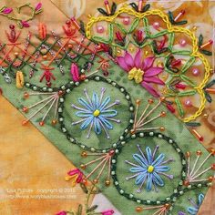 Beautiful Needlework on Patchwork- By Lisa P Boni on Flickr.