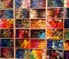 lots of yarn- shelved & arranged by color