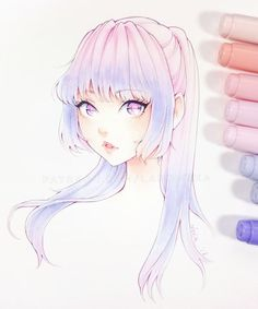 This artist inspires me to blend different colored markers until it looks at least this good Copic Drawings, Anime Drawings Sketches, Anime Sketch, Manga Drawing, Manga Art, Cute Drawings, Marker Kunst, Copic Marker Art, Copic Art