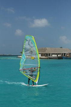 Windsurfing on property at the Holiday Inn Resort Kandooma Fushi - South Male Atoll, Maldives Islands Kandooma Maldives, Maldives Islands, Maldives Travel, Windsurfing, Summer Beach, Surfboard, To Go, Bucket, Vacation