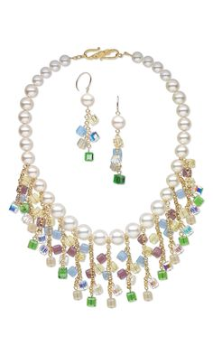 Jewelry Design - Bib-Style Necklace and Earring Set with Swarovski Crystal Beads and Pearls and Gold-Filled Chain - Fire Mountain Gems and Beads