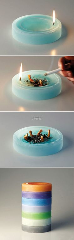 x ashtray candle; don't smoke but this would be good for company that does