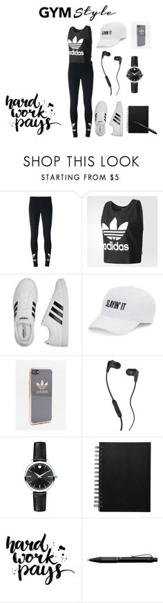 """gym style"" by neavah ❤ liked on Polyvore featuring adidas Originals, adidas, SO, Skullcandy, Movado and Fisher Space Pen"