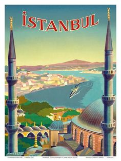 Photochrom Istanbul (Constantinople) by Moonlight Photo. Istanbul by Tarik Uzme. Travel Ads, Travel And Tourism, Travel Photos, Travel Guide, Travel Destinations, Travel Trip, Beach Travel, Travel Trailers, Retro Poster