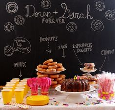 Chalkboard as a background for a dessert bar.