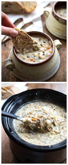 Crockpot Chicken and Wild Rice Soup from Pinch of Yum featured on SlowCookerFromScratch.com