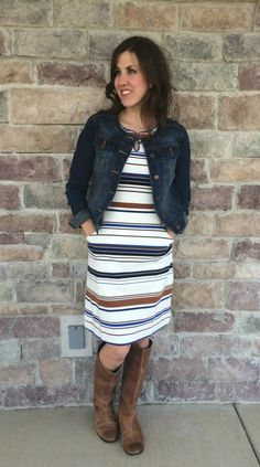 striped dress, boots