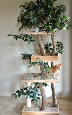 pet tree: branches, carpet, rope and silk foliage
