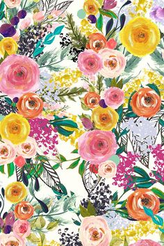 Autumn Blooms Painted Floral by theartwerks - Hand painted floral arrangement on fabric, wallpaper, and gift wrap. Colorful blooms in pink, orange, red, purple, and yellow in a painterly style. #flowers #floral #colorful #weddingflowers #flowerpainting #craft