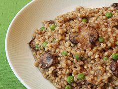 Mushroom Buckwheat Risotto with Peas