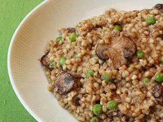 Mushroom Buckwheat Risotto with Peas