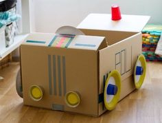 Make a cardboard box car Cardboard Car, Cardboard Box Crafts, Pop Can Crafts, Diy For Kids, Crafts For Kids, Dramatic Play Themes, Aluminum Can Crafts, Preschool Crafts, School Projects