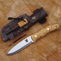TBS Boar Bushcraft Knife - Firesteel Edition - Carbon Steel and Curly Birch