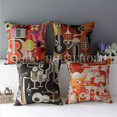 Vintage Linen Colorful Musical Guitar Instrument Throw Pillow Case Cushion Cover #Unbranded